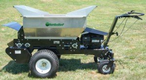 [Earth and Turf walk behind powered topdresser Picture # 1]